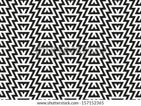 Abstract seamless geometric pattern in black and white color - stock vector
