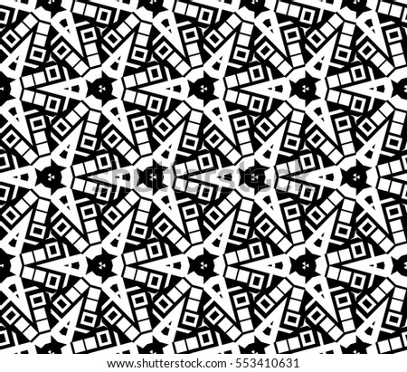 abstract seamless geometries pattern. White in black color. for wallpaper. design page fill. Vector illustration