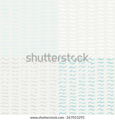 Abstract seamless grey pattern with hand drawn waves for wrapping paper. Graphic vector background. CMYK color mode - stock vector