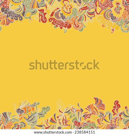 Abstract seamless hand-drawn border. Use as pattern fill or surface texture or greeting card. Full color seamless floral wavy background