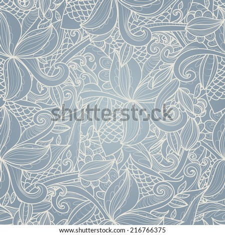 Abstract seamless hand-drawn pattern. Use as pattern fill or surface texture. Full color seamless floral wavy background