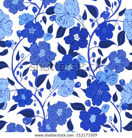 Abstract seamless hand painted background. Isolated blue flowers and leafs. Vector illustration. - stock vector