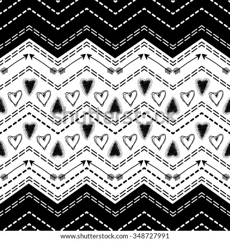 Abstract seamless heart pattern. Ink illustration. Black and white. Vector illustration for tribal design. Zigzag and stripe line. Black and white colors. For textile, wallpaper, wrapping paper. - stock vector