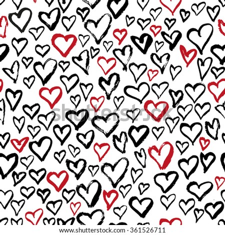 Abstract seamless hearts pattern. Ink hand drawn grungy illustration. Black and red grunge design. Vector file. - stock vector
