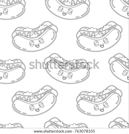Abstract seamless hot dog pattern for girls or boys. Creative vector background with hot dog, sausage. Funny wallpaper for textile and fabric. Fashion hot dog style. Monochrome, black, white picture