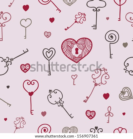abstract seamless key and lock romantic pattern - stock vector