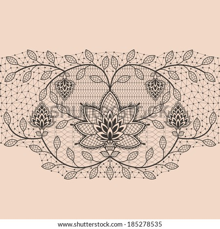 Abstract seamless lace ribbon pattern - stock vector