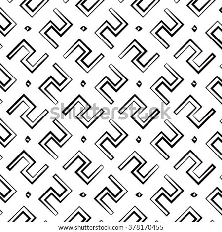 Abstract seamless line pattern, monochrome vector background