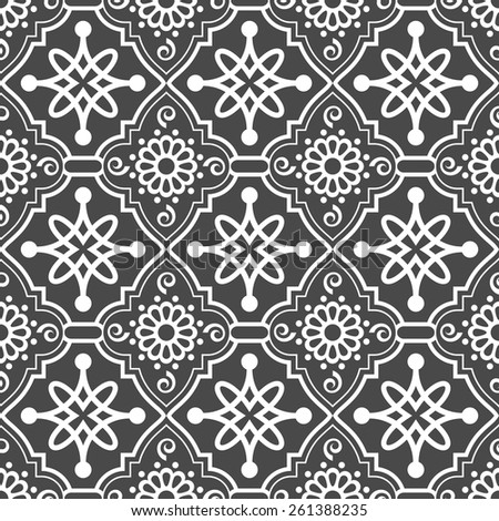 Abstract seamless oriental ornate vector pattern.  - stock vector