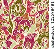 Abstract seamless Paisley pattern with shadows, Floral - stock photo