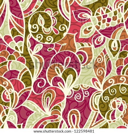 Abstract seamless Paisley pattern with shadows, Floral