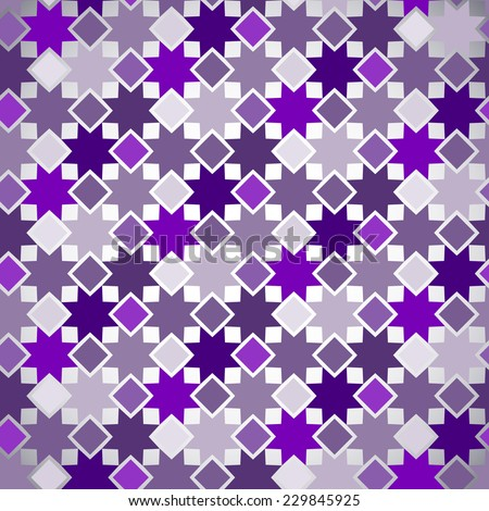 Abstract seamless pattern based on geometric shapes. Can be used as decoration for the gift boxes, wallpapers, backgrounds, web sites. Geometrical ornament with purple stars. - stock vector