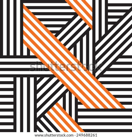 Abstract seamless pattern. Black and orange intersecting lines. Vector.