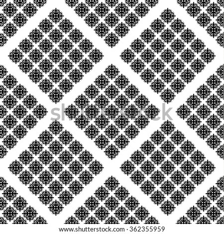 Abstract seamless pattern. Black and white style. Monochrome pattern in the form of a rhombus. Symmetric figure. Vector illustration. - stock vector