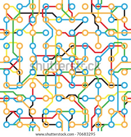 Abstract seamless pattern - electronic color components on white - stock vector