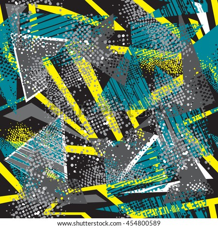 Abstract seamless pattern for boys. Grunge urban modern geometric background for guys. Chaotic wallpaper for girl. Repeated backdrop for fashion, sport clothes in yellow, blue, black and white colors - stock vector