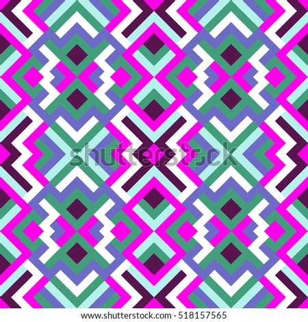 Abstract seamless pattern for design. Vector geometric background of triangles in white, blue, pink and green colors. Mosaic texture