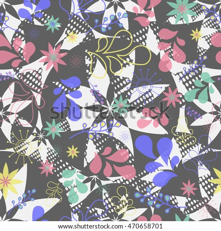 Abstract seamless pattern for girls. Creative vector background with flowers, plants, drops.Funny wallpaper for textile and fabric. Fashion style. Colorful bright picture for children.Blue, Red, white