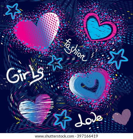 Abstract seamless pattern for girls. Creative vector background with hearts, dots, waves, stars in pink, blue and white colors. Funny wallpaper for textile and fabric. Fashion style.  - stock vector
