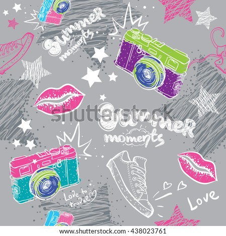 Abstract seamless pattern for girls. Modern background for boys and girls. Seamless background. Wallpaper for girls. Repeated pattern with camera, lips, shoes. Summer backdrop. Chaotic background. - stock vector