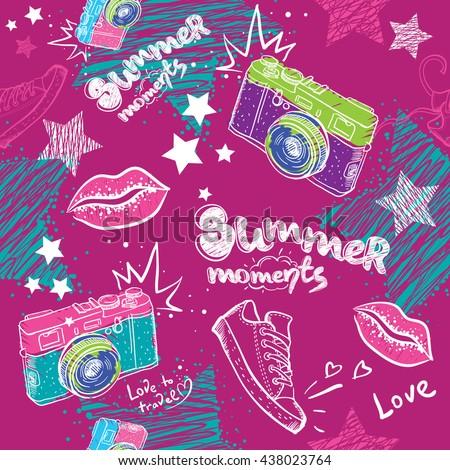 Abstract Seamless Pattern For Girls Modern Background Girlish Wallpaper