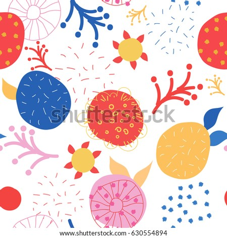 Abstract seamless pattern for your design. For printing on packaging, bags, cups, textile, etc. Vector illustration.
