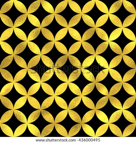 Abstract seamless pattern in Arabian style. Vector golden fashion background, gold on black oriental ornament
