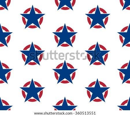 Abstract seamless pattern made from five pointed stars in rings