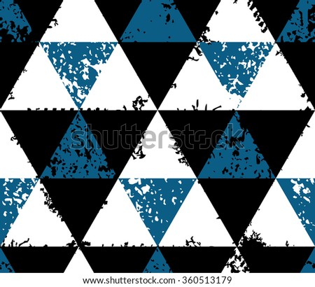 Abstract seamless pattern made from grunge triangles - stock vector