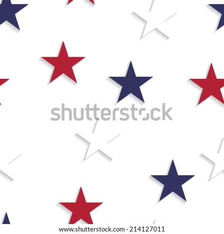 Abstract seamless pattern made from red, blue and red stars - stock vector