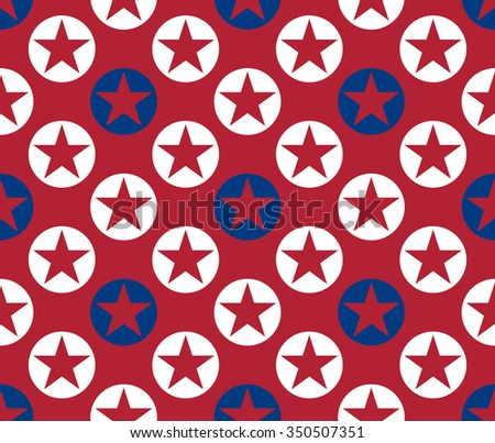 Abstract seamless pattern made from stars in circles - stock vector