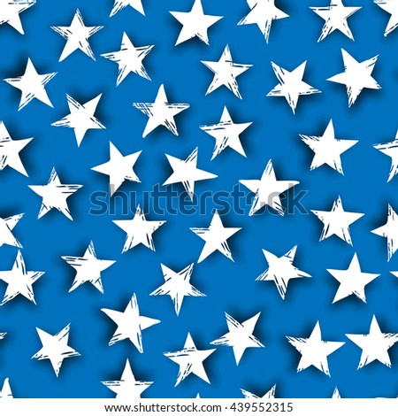 Abstract seamless pattern made from stars with shadow - stock vector