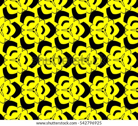 Abstract seamless pattern. Mirror geometric ornament. Vector illustration yellow color