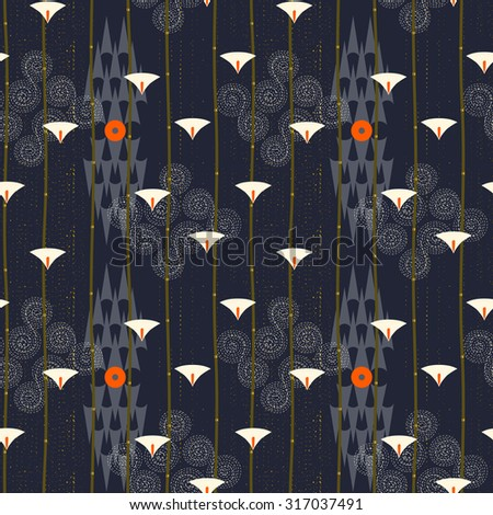 Abstract seamless pattern. Modern style motif. Lotus flowers, water lily and geometry elements on dark blue background - stock vector