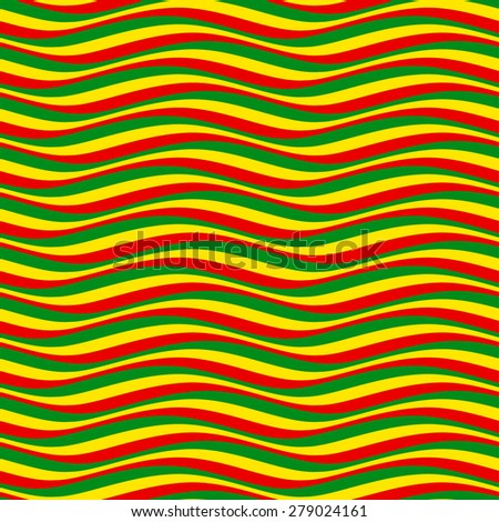 Abstract seamless pattern. Multicolor wavy lines in rastafarian style