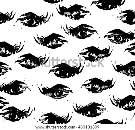 Abstract seamless pattern of black eyes on white background