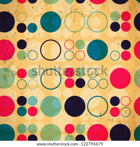 Abstract seamless pattern of circles and rings