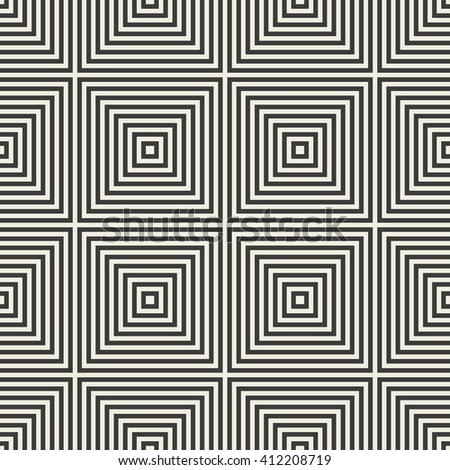 Abstract seamless pattern of squares. Tile pattern. Endless geometric pattern. Monochrome background. Vector illustration