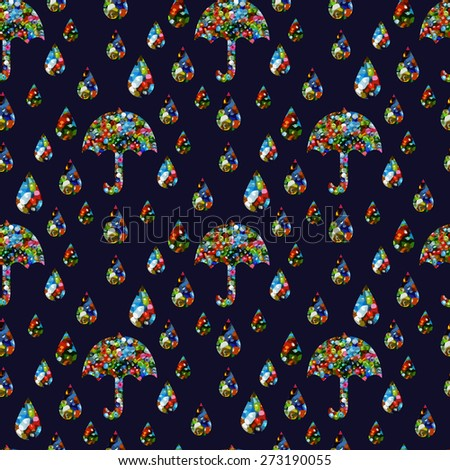 Abstract seamless pattern of umbrellas and raindrops with dark blue background - stock vector