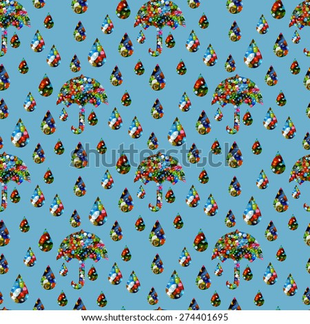 Abstract seamless pattern of umbrellas and raindrops with light blue background - stock vector