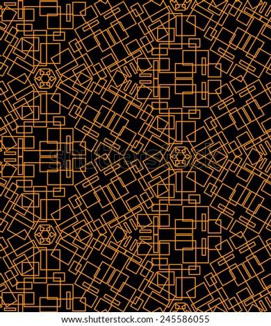 Abstract seamless pattern of yellow roses on a black background