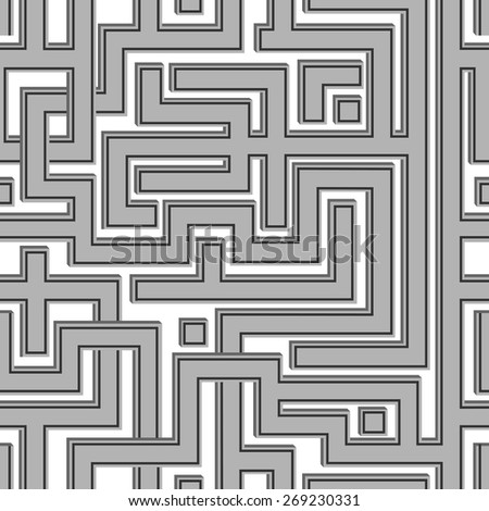 Abstract seamless pattern resembling a maze.Illustration done in shades of gray. - stock vector