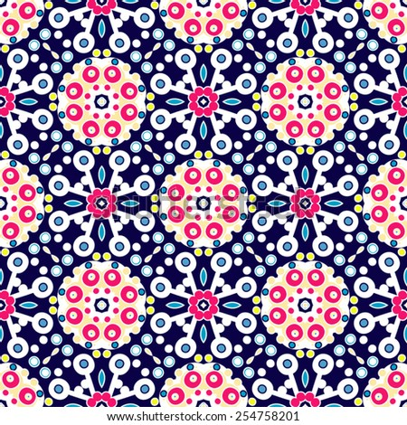 Abstract seamless pattern, vector arabic background, colorful fabric