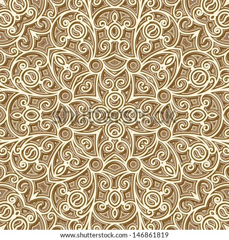 Abstract seamless pattern, vintage gold texture, vector lattice ornament - stock vector