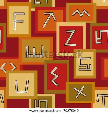 Abstract seamless pattern with African art signs - stock vector
