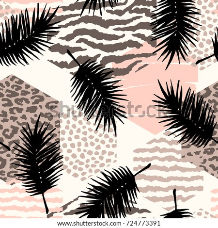 Abstract seamless pattern with animal print, tropical plants and geometric shapes. Trendy hand drawn textures. Modern abstract design for paper, cover, fabric, interior decor and other users