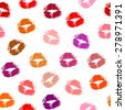 Abstract seamless pattern with beautiful red, purple, brown and beige color print of women lips. beauty lipstick female lips kiss prints on paper. vector art image illustration, isolated on background - stock vector
