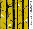 Abstract seamless pattern with birches and birds. - stock photo