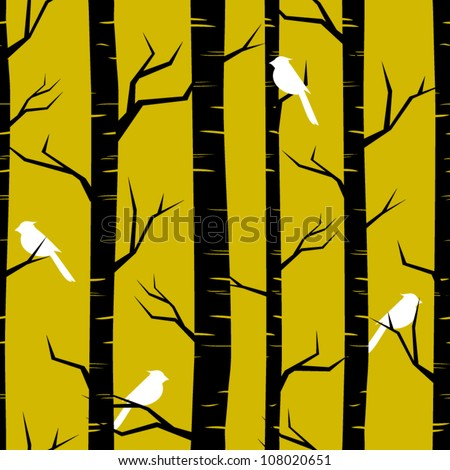 Abstract seamless pattern with birches and birds. - stock vector