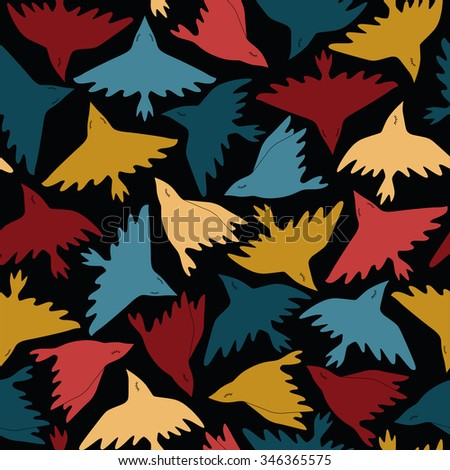 Abstract seamless pattern with birds. Vector colorful texture can be used for wallpaper, pattern fills, web page background, print on fabric or wrapping paper. Isolated on a black background - stock vector